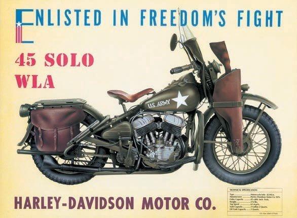harley davidson - w.l.a. tin signs, metal signs | sold at