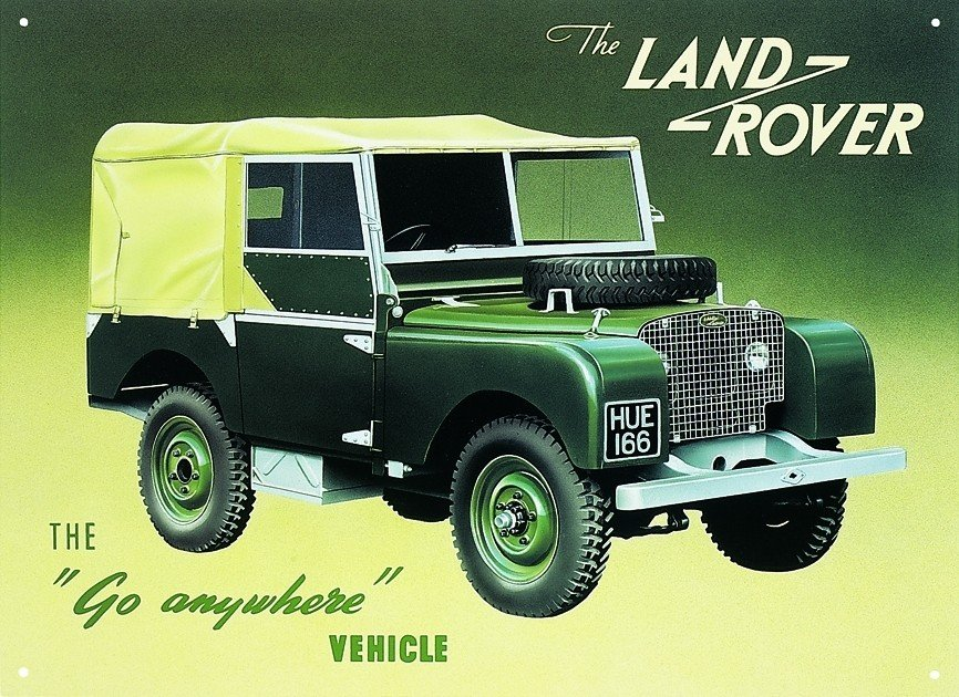 land rover series 1 tin signs metal signs sold at ukposters. Black Bedroom Furniture Sets. Home Design Ideas