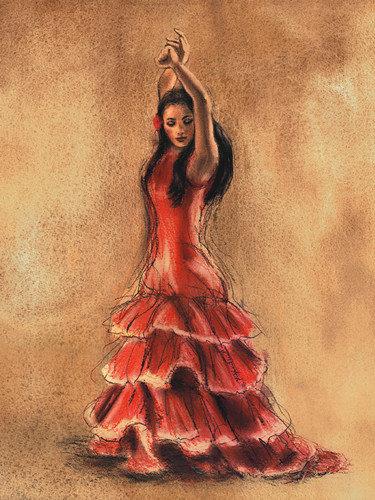 Flamenco dancer i art print buy at europosters - Danseuse flamenco dessin ...