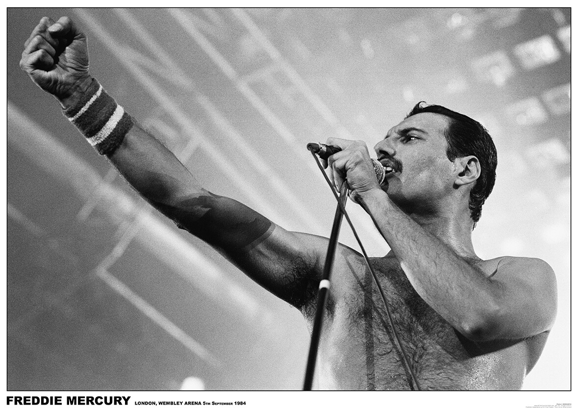 Freddie Mercury Style Black Vintage Poster