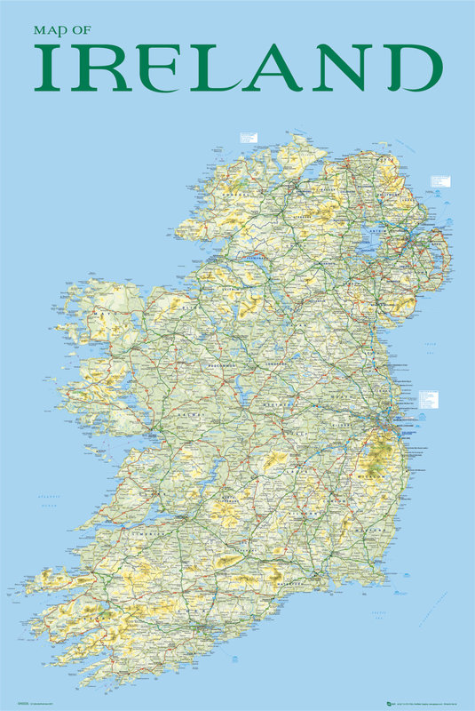 Map Of Ireland Poster.Map Of Ireland Poster Sold At Europosters