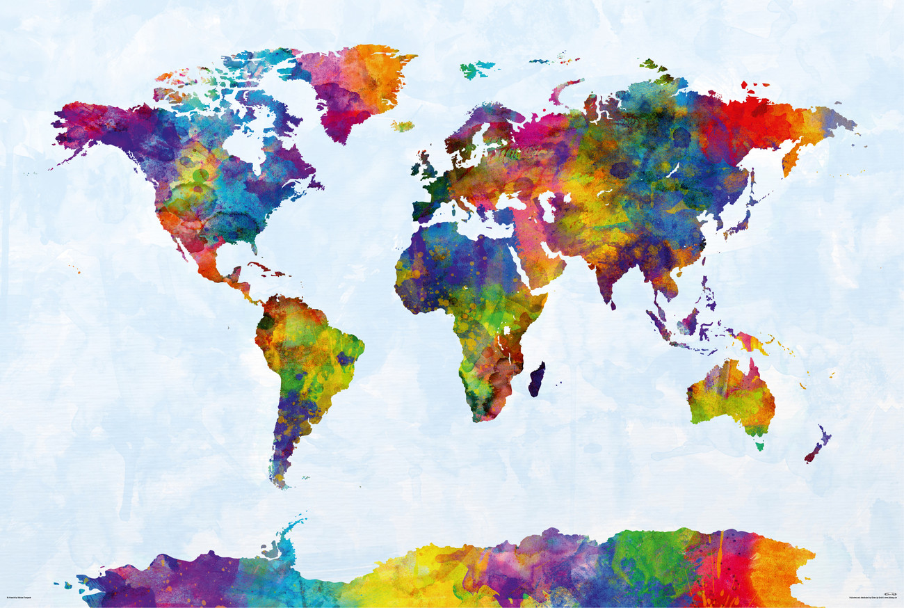 Michael tompsett watercolor world map poster sold at europosters 3 gumiabroncs Image collections