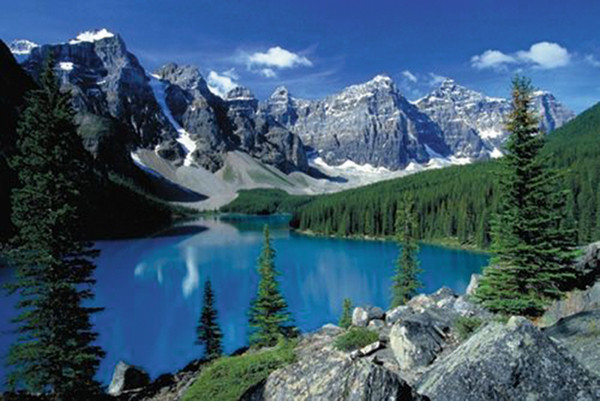 Rocky Mountains Moraine Lake Banff National Park Poster