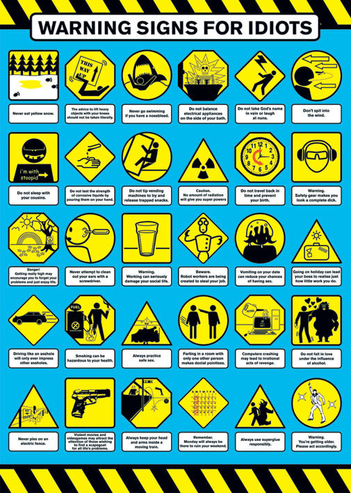warning signs for idiot poster sold at abposters com
