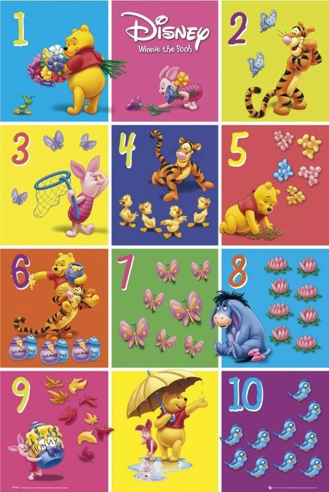 winnie the pooh 1 to 10 poster sold at. Black Bedroom Furniture Sets. Home Design Ideas