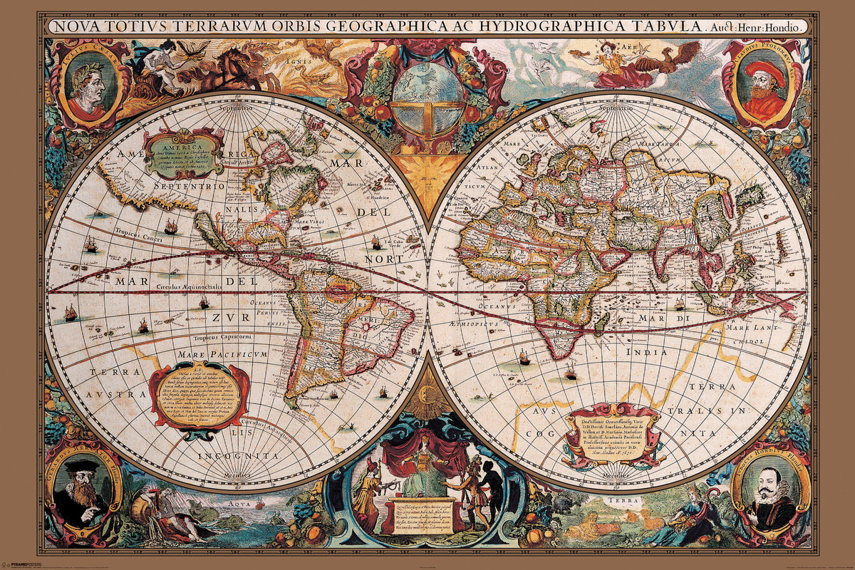 world map 17th century poster sold at ukposters. Black Bedroom Furniture Sets. Home Design Ideas