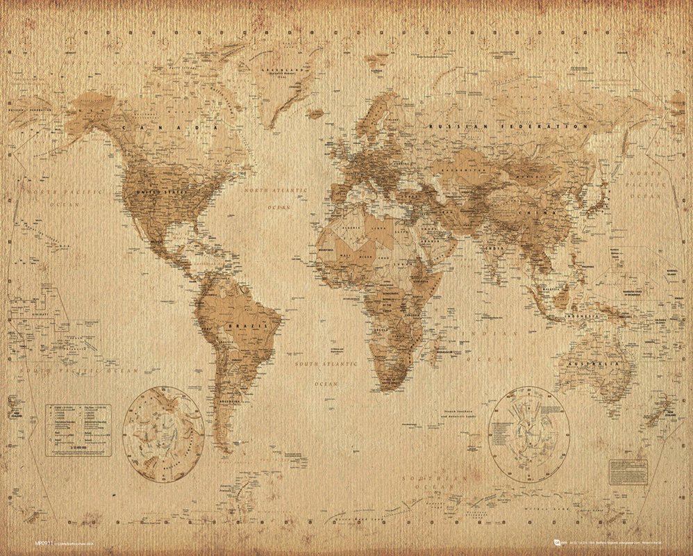 world map antique style poster sold at europosters. Black Bedroom Furniture Sets. Home Design Ideas