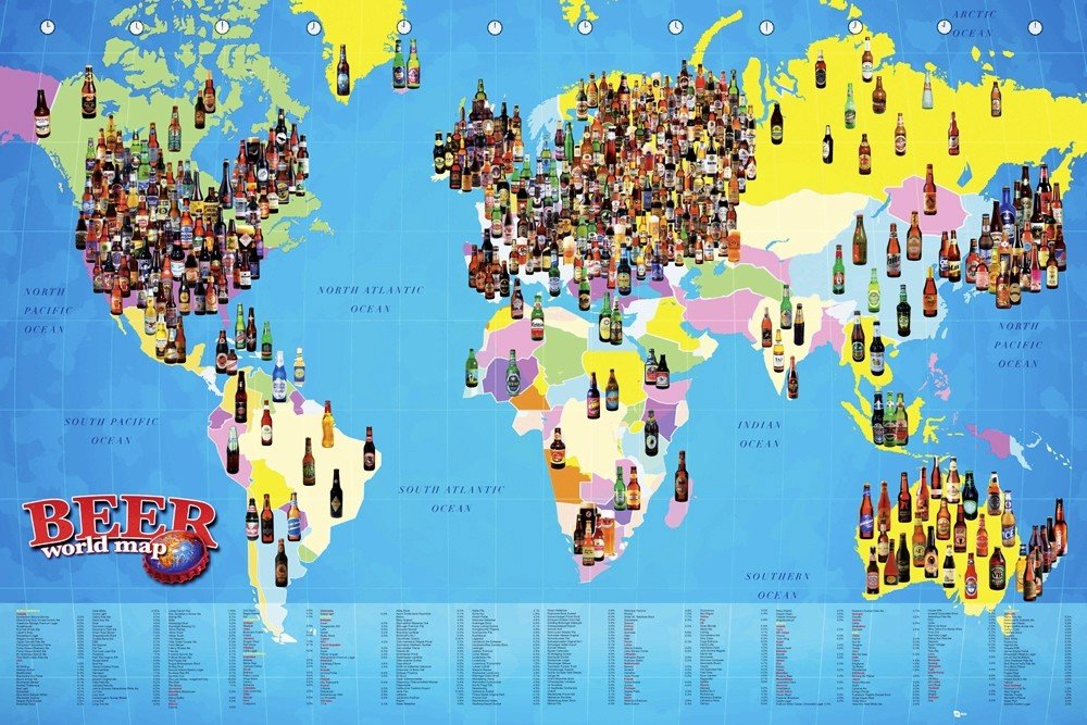 World map   Beer Poster | Sold at Abposters.com