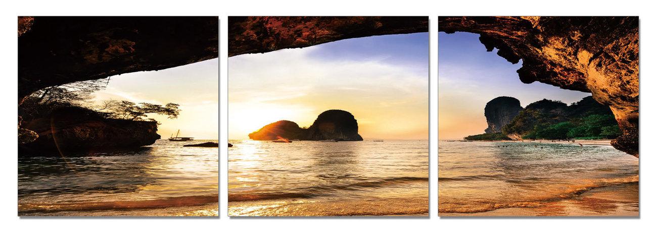 Beach at Sunset Mounted Art Print