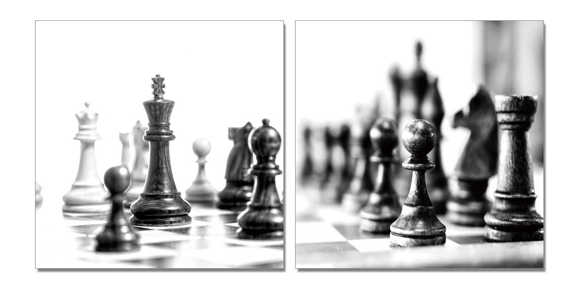 Chess - Black and White World Mounted Art Print