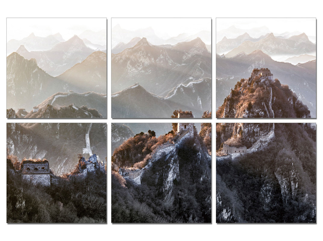 China - Great Wall of China, Mountains Mounted Art Print