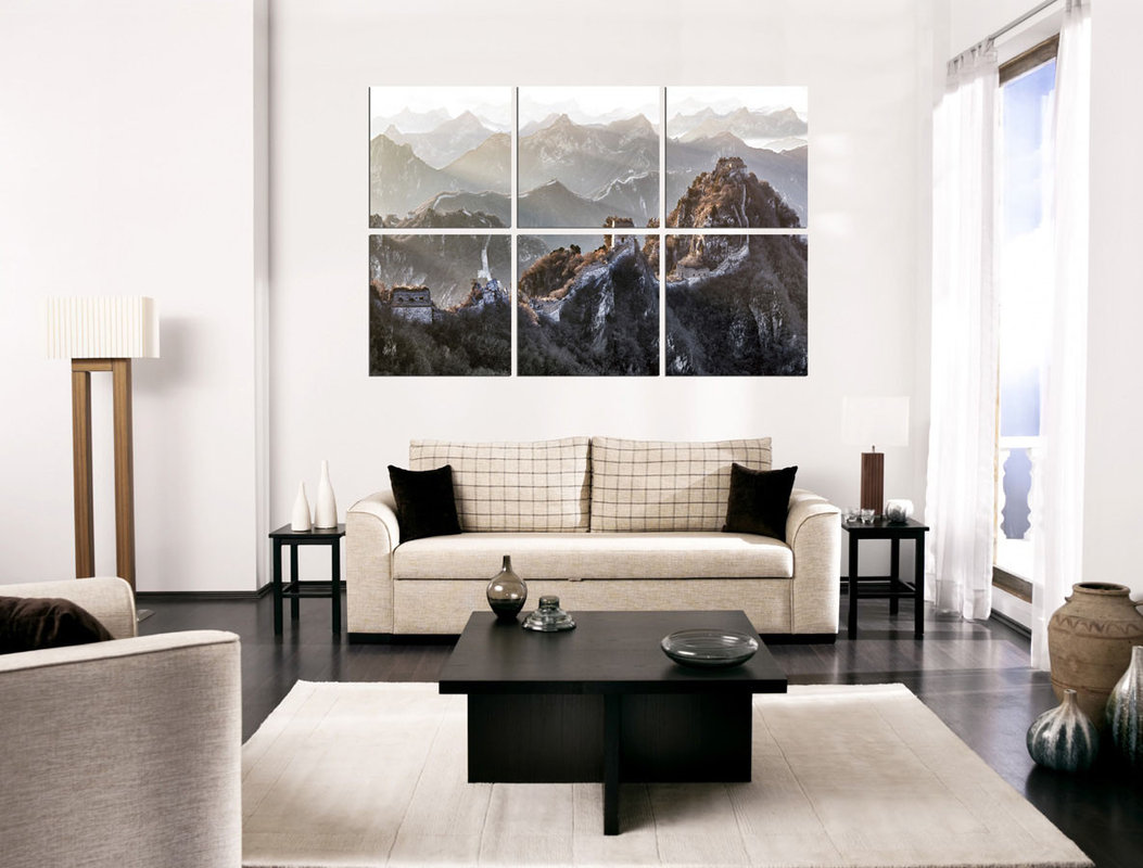 China - Great Wall of China, Mountains Mounted Art Print