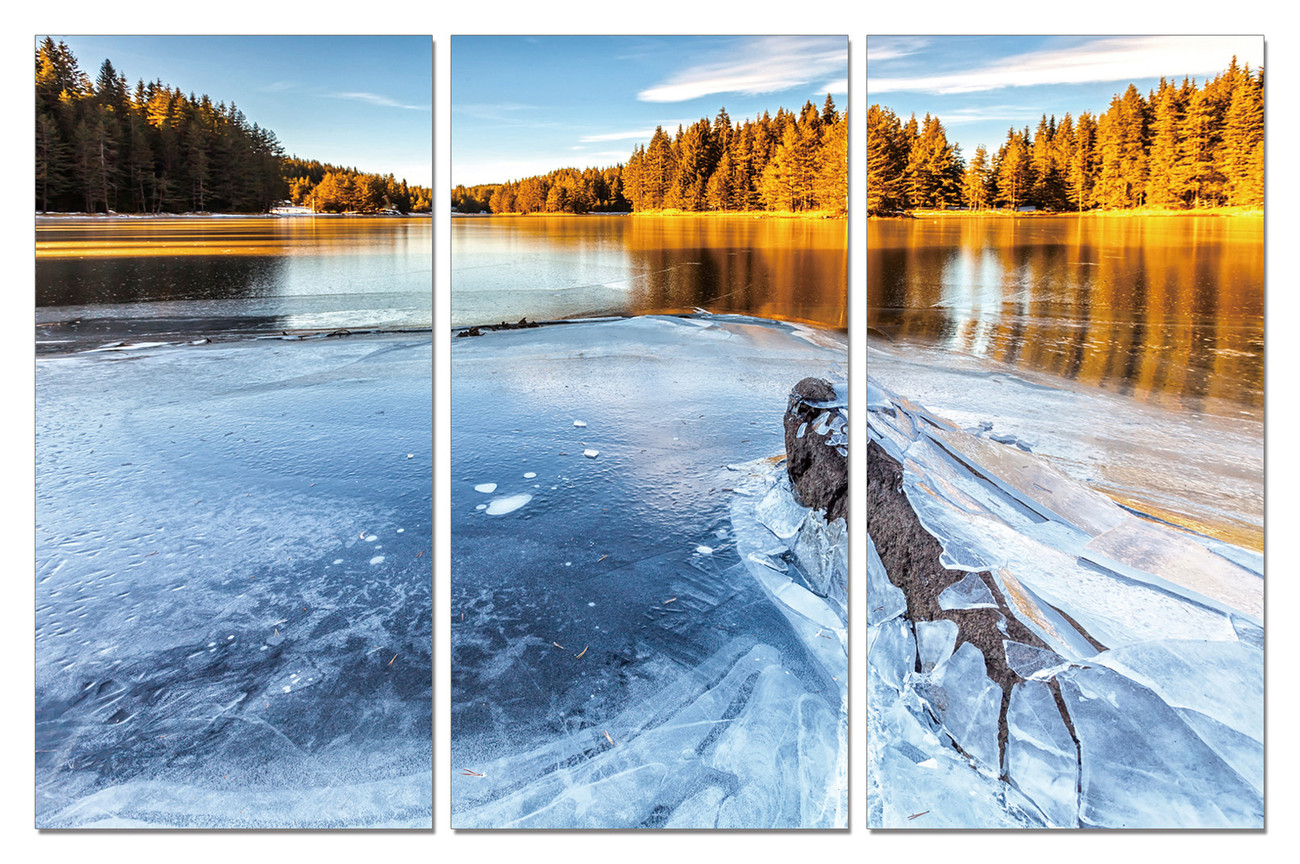 Frozen River in Nature Mounted Art Print