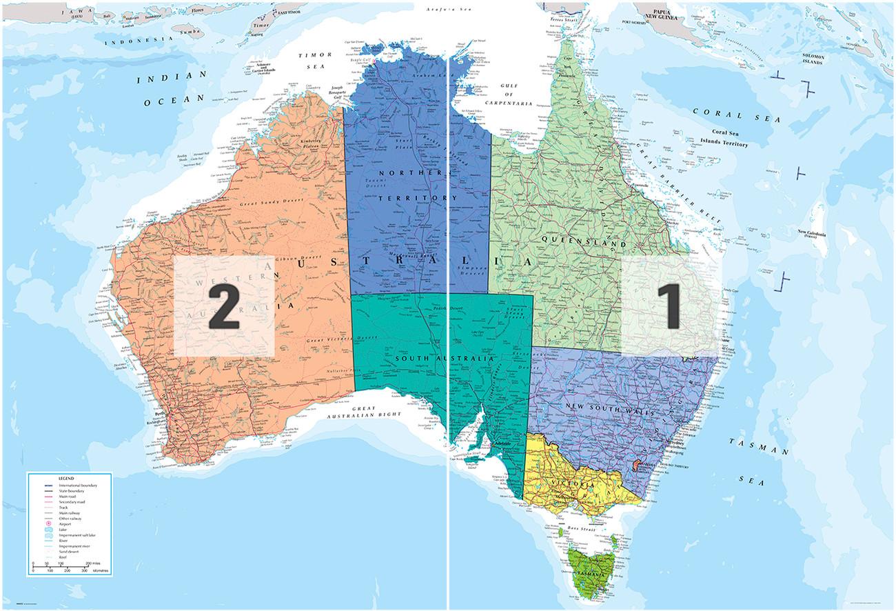 Australia Poliittinen Kartta Tapetti Valokuvatapetti Europosters Fi