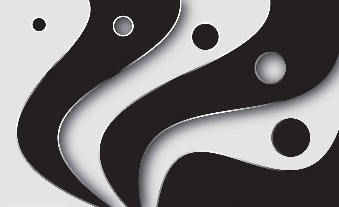 Abstrait motif moderne noir blanc poster mural papier - Poster mural noir et blanc ...