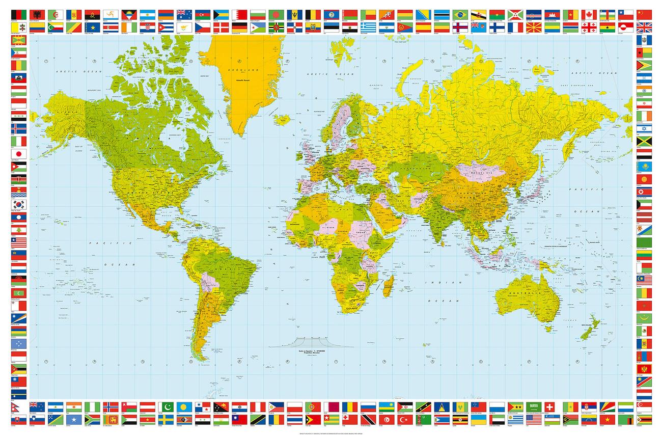 carte politique du monde poster mural papier peint acheter le sur. Black Bedroom Furniture Sets. Home Design Ideas