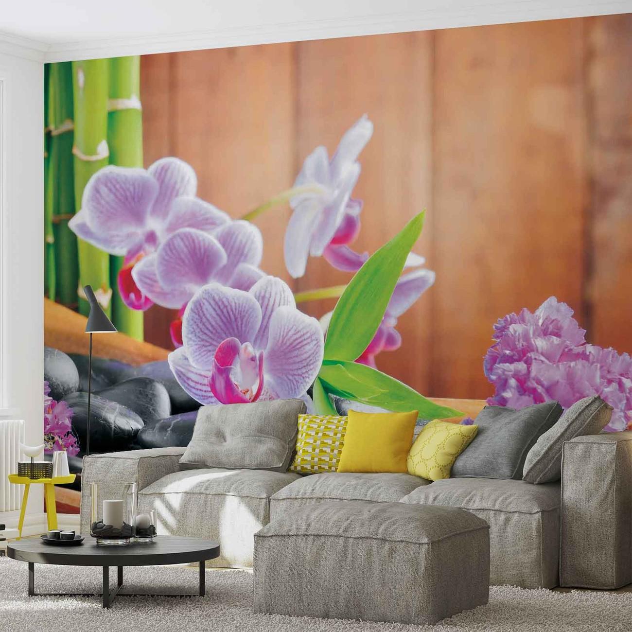 fleurs orchid es zen poster mural papier peint acheter le sur. Black Bedroom Furniture Sets. Home Design Ideas