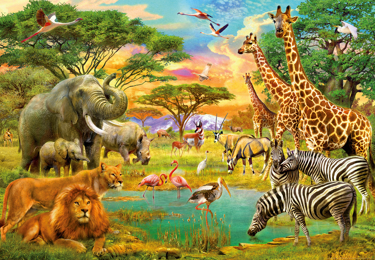 les animaux d 39 afrique poster mural papier peint acheter. Black Bedroom Furniture Sets. Home Design Ideas