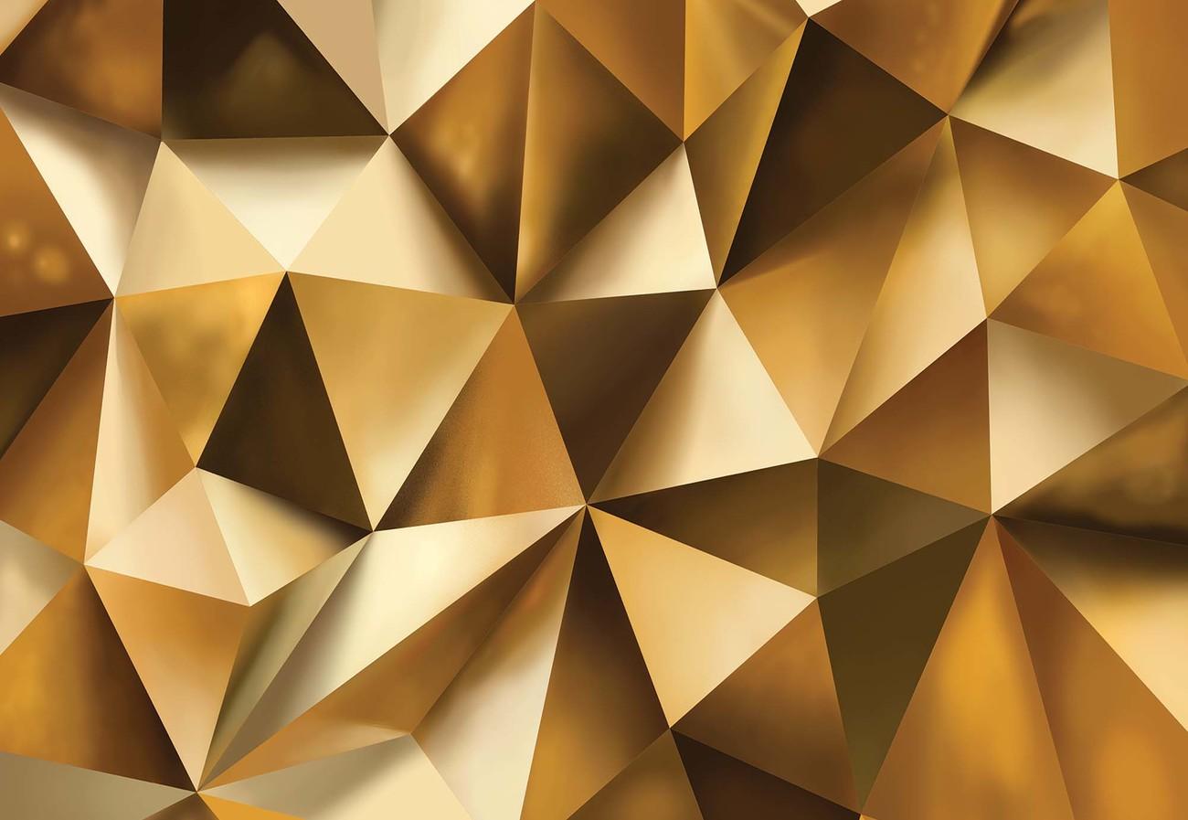 3d Gold Polygon Texture Wallpaper Mural