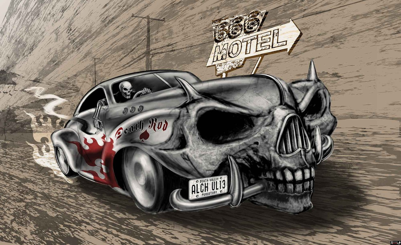 Alchemy Death Hot Rod Car Skull Wall Paper Mural | Buy at EuroPosters