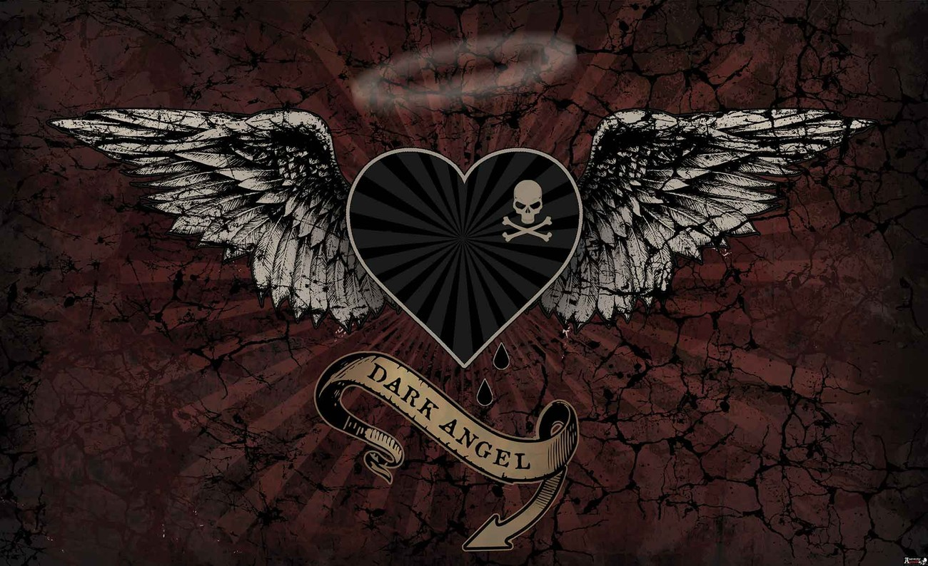 Alchemy heart dark angel tattoo wall paper mural buy at for Angel wall mural