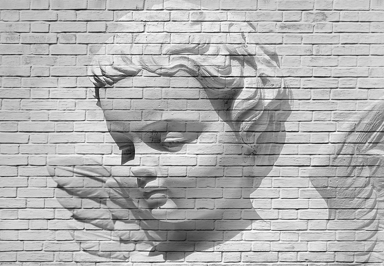 Angel brick wall wall mural buy at europosters for Angel wall mural