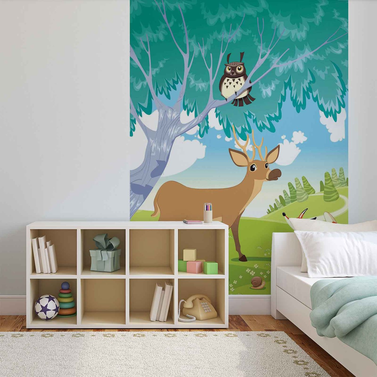 Animals in the forest wall paper mural buy at europosters for Animal wall mural