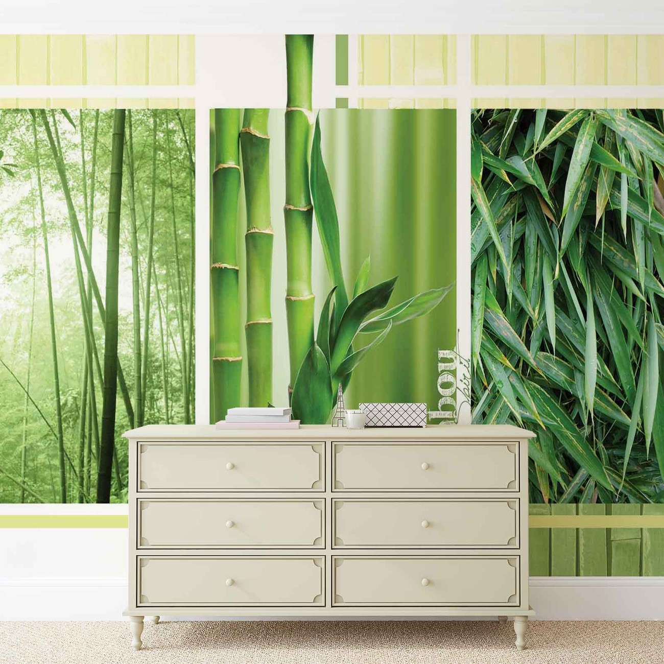 Bamboo forest nature wall paper mural buy at for Bamboo forest wall mural