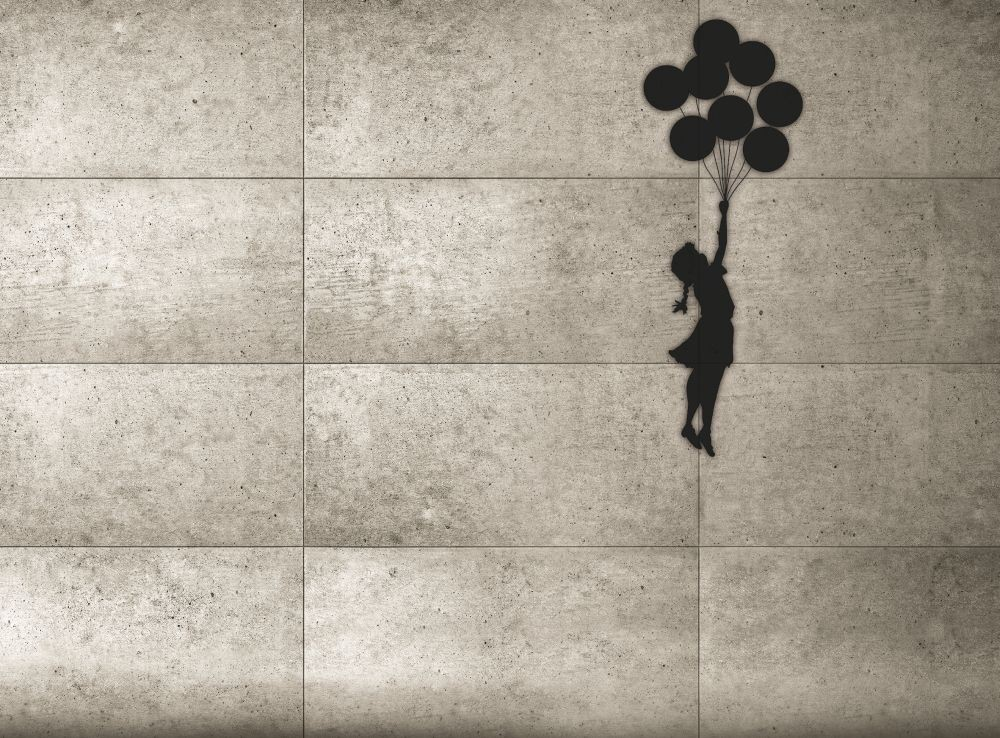 banksy balloon girl wall mural buy at europosters. Black Bedroom Furniture Sets. Home Design Ideas
