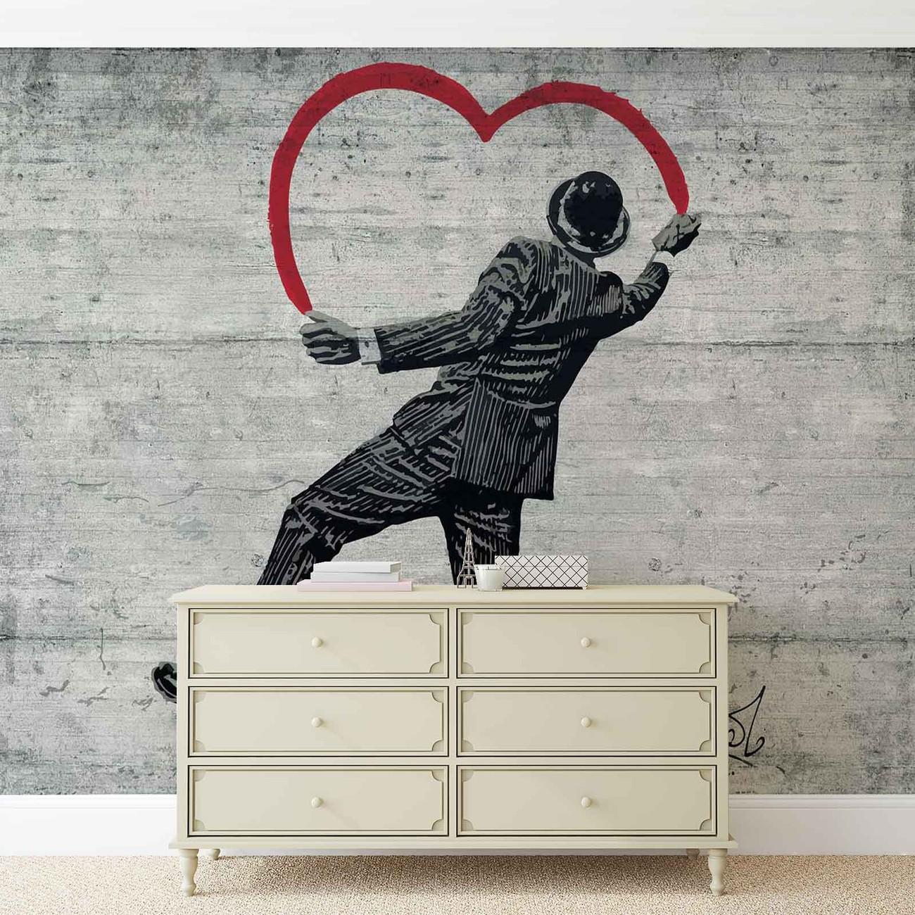 Banksy Graffiti Concrete Wall Paper Mural