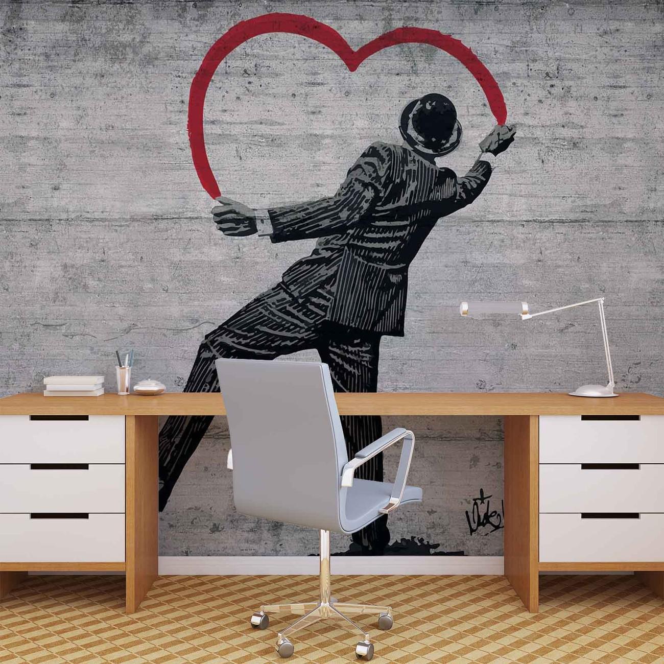 Banksy Graffiti Concrete Wall Wall Paper Mural