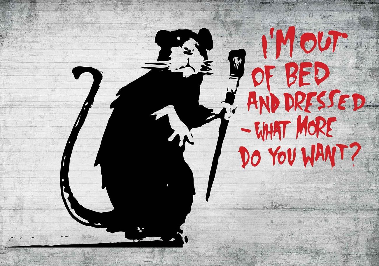 Banksy Graffiti Rat Concrete Wall Paper Mural