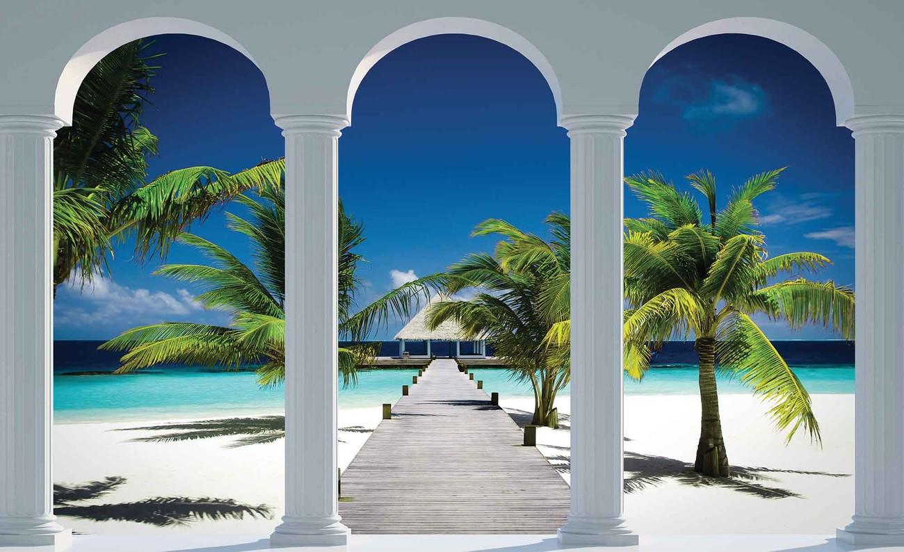 Beach Tropical Paradise Arches Wall Paper Mural
