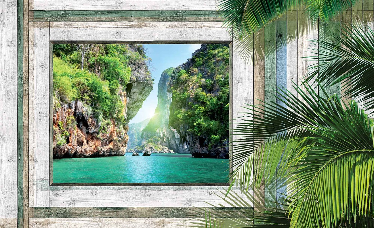 Beach tropical view wall paper mural buy at europosters for Beach view wall mural