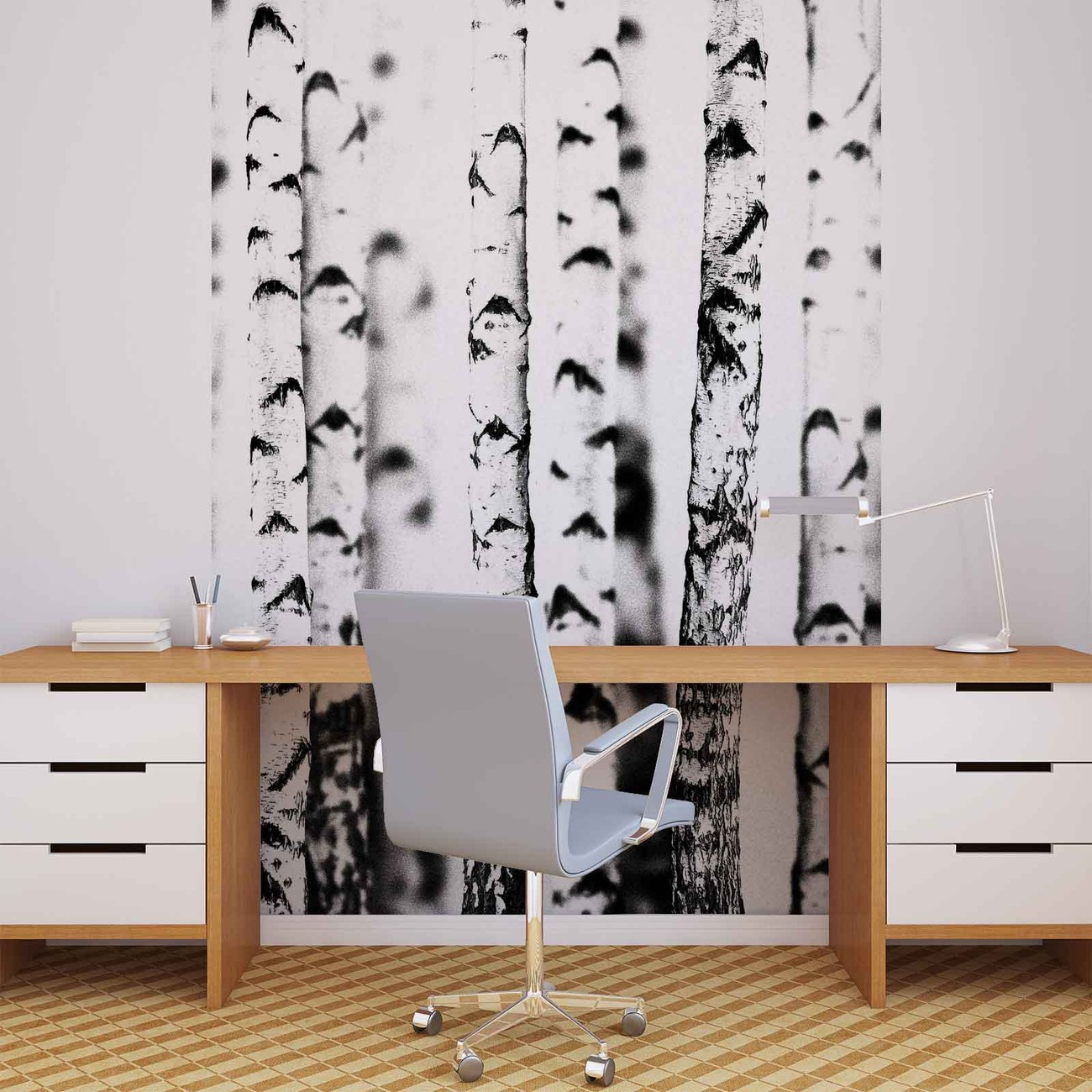 Birch trees wall paper mural buy at for Birch trees mural