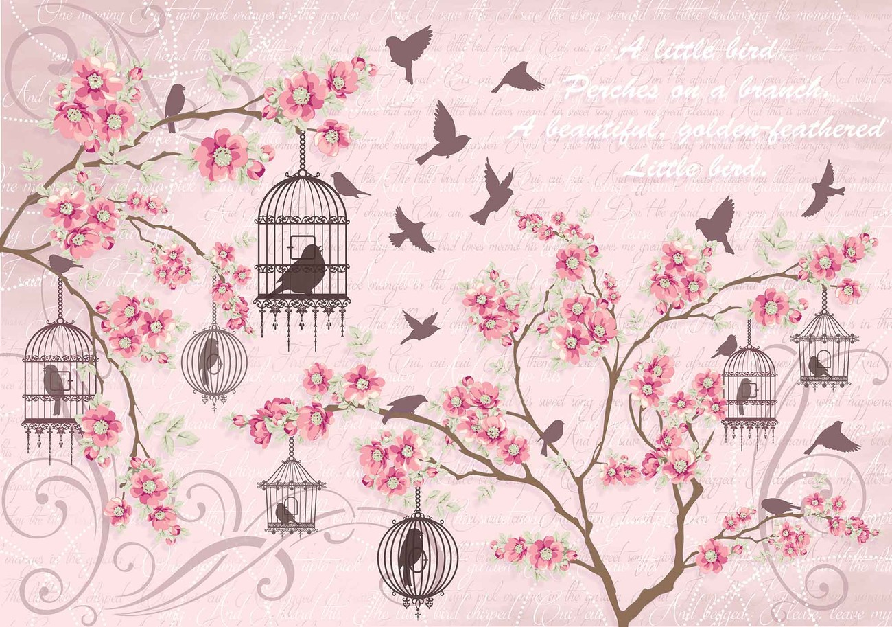 Birds cherry blossom pink wall paper mural buy at for Cherry blossom mural wallpaper