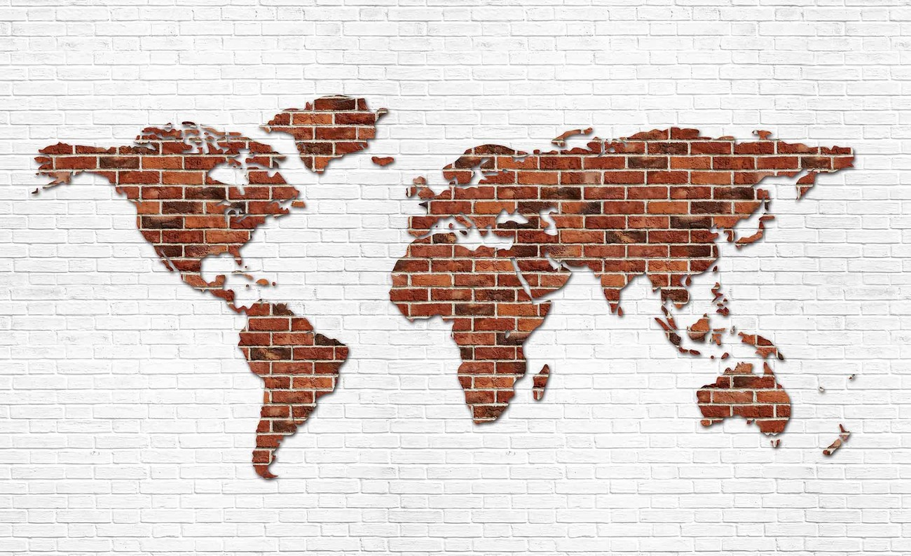 Wild Animal Wall Stickers Brick Wall World Map Wall Paper Mural Buy At Europosters