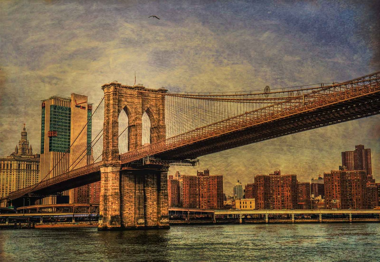Brooklyn bridge wall paper mural buy at europosters for Brooklyn bridge wallpaper mural