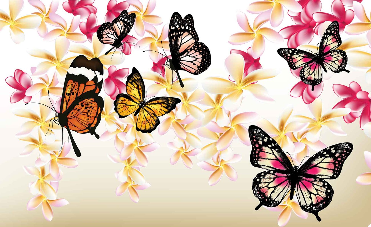 Butterflies Flowers Wall Paper Mural | Buy at EuroPosters