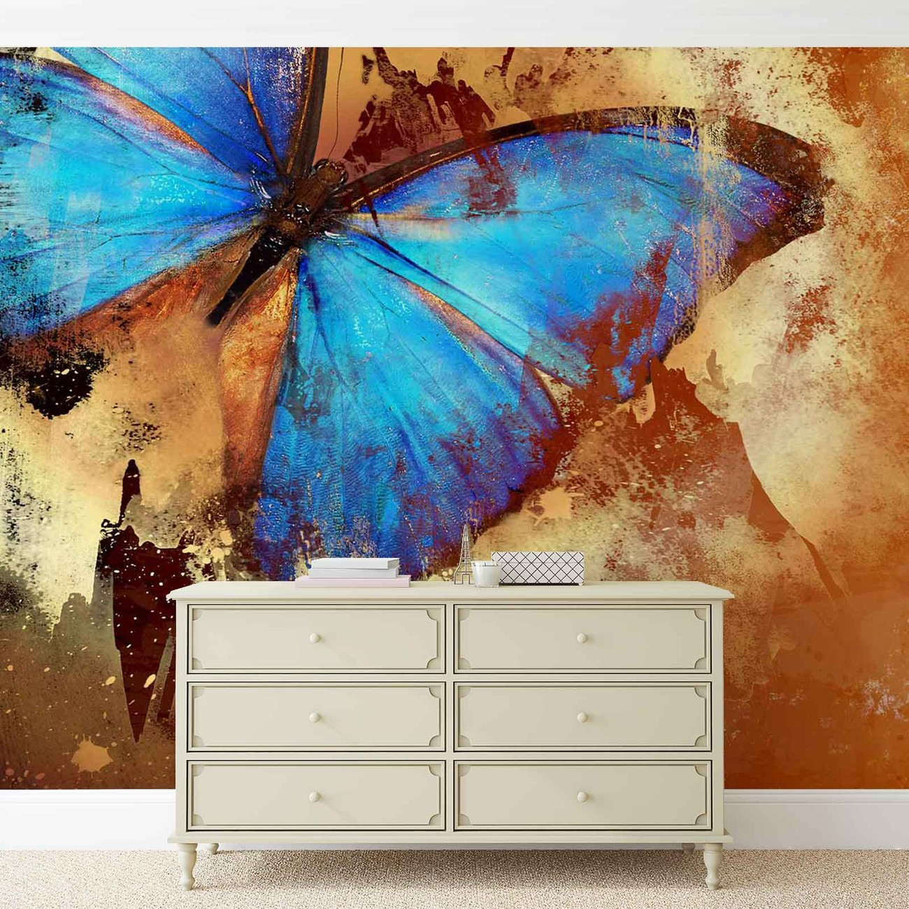 Butterfly art wall paper mural buy at europosters for Butterfly mural wallpaper