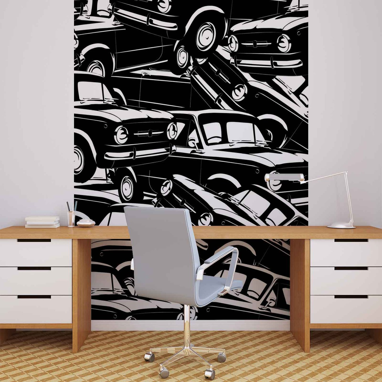 Cars vintage wall paper mural buy at europosters for Cars movie wall mural