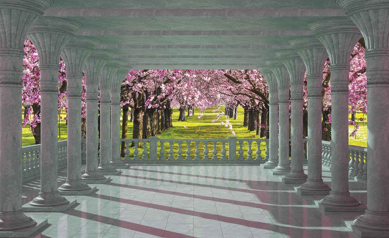 Cherry trees through the arches wall paper mural buy at for Cherry tree mural