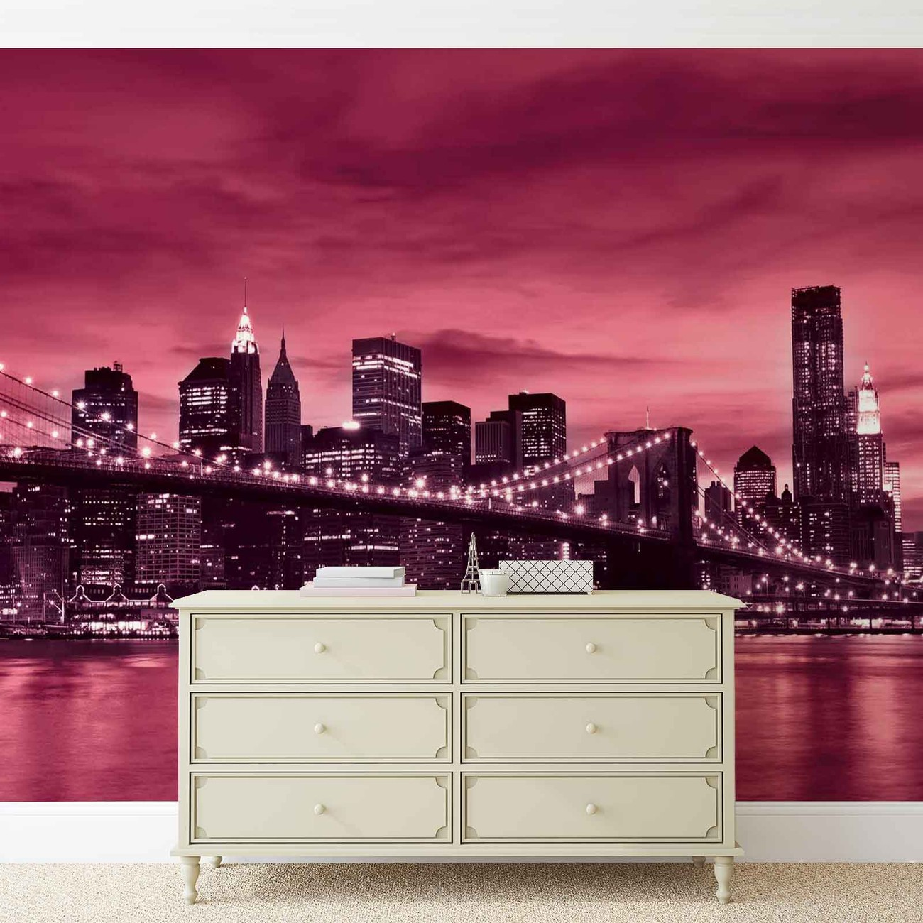city brooklyn bridge new york city wall paper mural buy at europosters. Black Bedroom Furniture Sets. Home Design Ideas