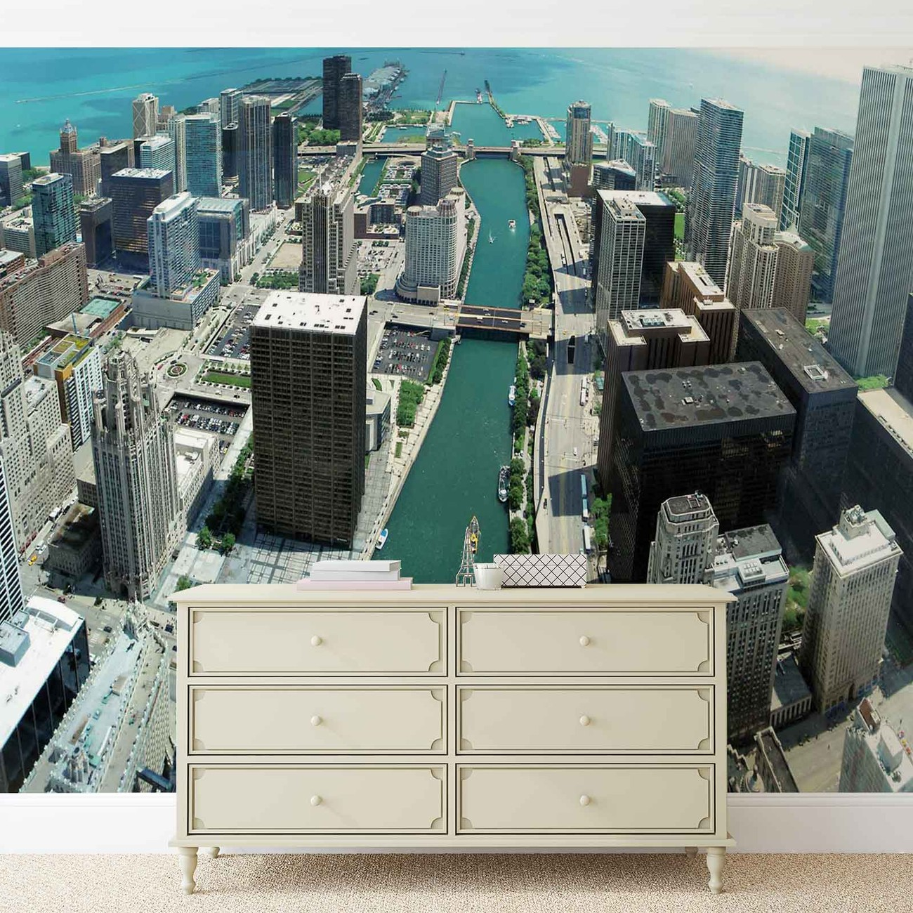 City chicago wall paper mural buy at europosters for Chicago wall mural