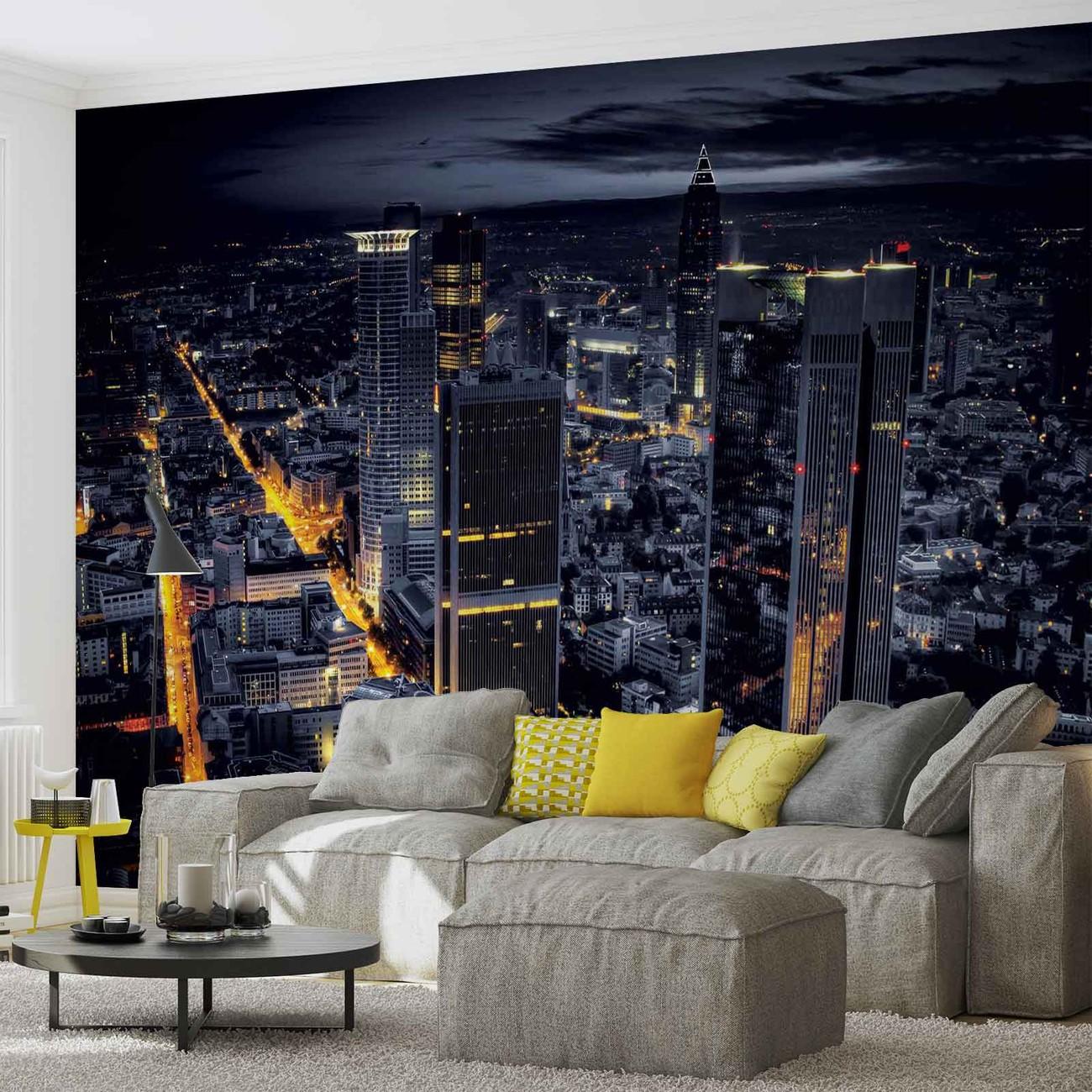 City Frankfurt Skyline Night Lights Wallpaper Mural