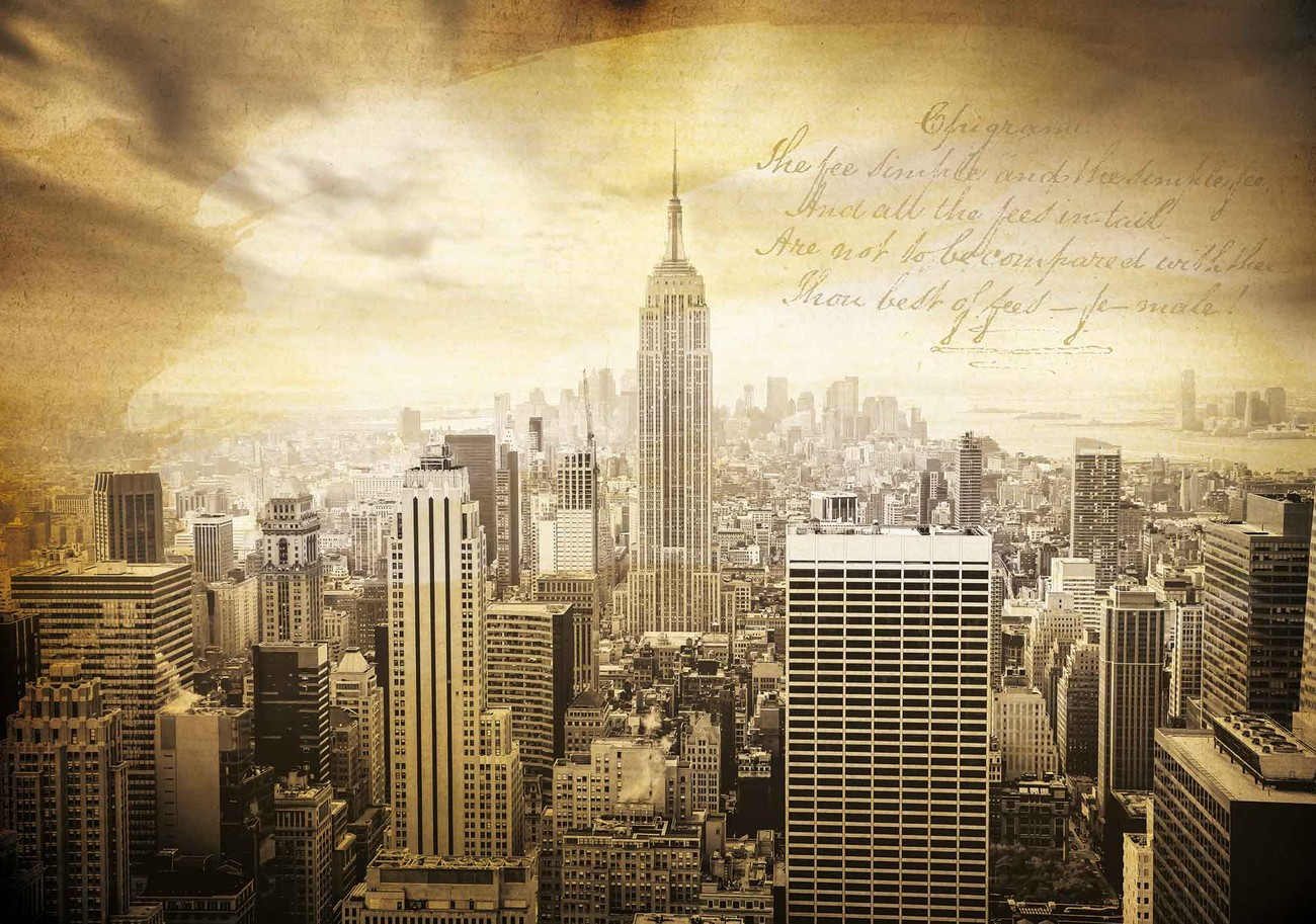 city new york vintage sepia wall paper mural buy at. Black Bedroom Furniture Sets. Home Design Ideas