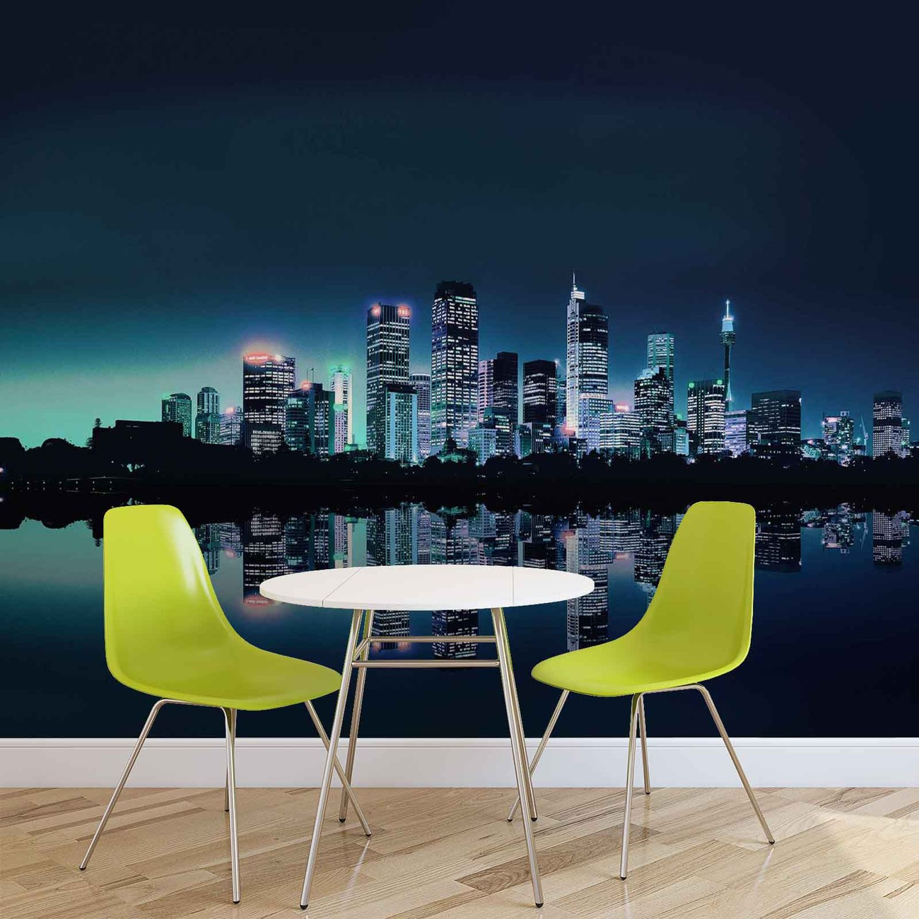 City skyline wall paper mural buy at europosters for Cityscape murals photo wall mural
