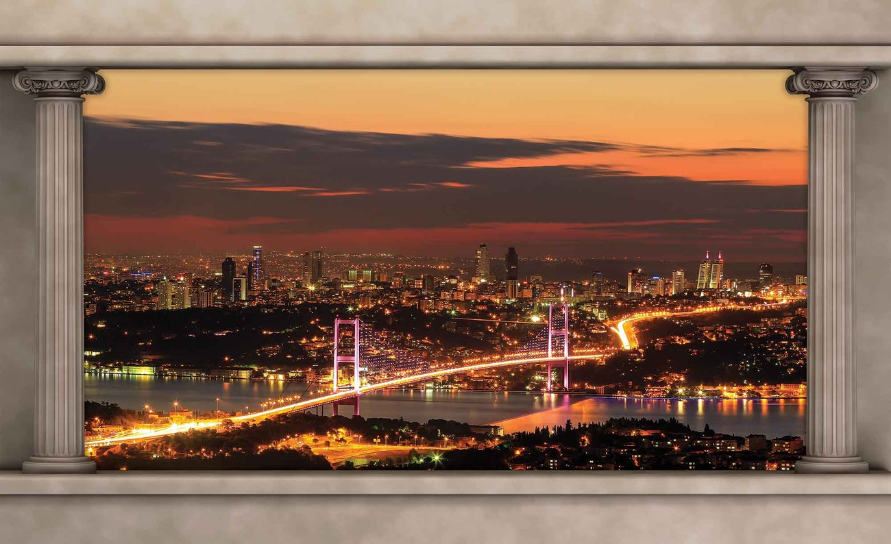 City skyline view istanbul wall paper mural buy at for Cityscape murals photo wall mural