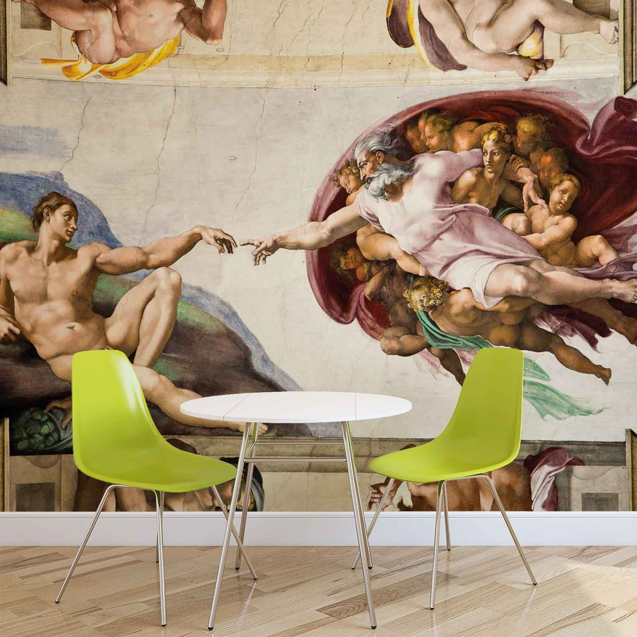 creation adam art michelangelo wall paper mural buy at. Black Bedroom Furniture Sets. Home Design Ideas
