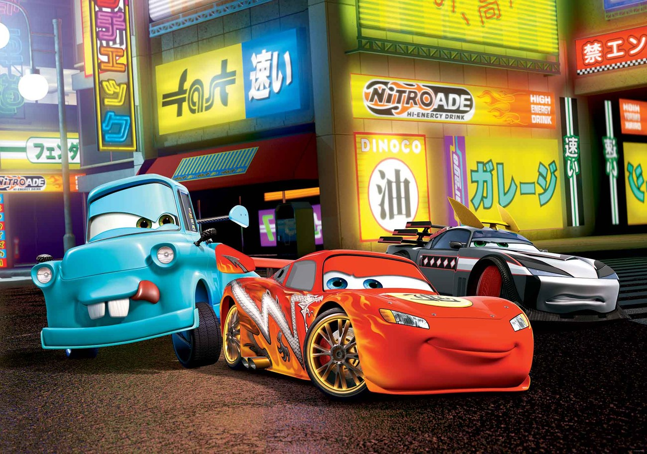 Disney cars lightning mcqueen wall paper mural buy at for Disney cars mural uk